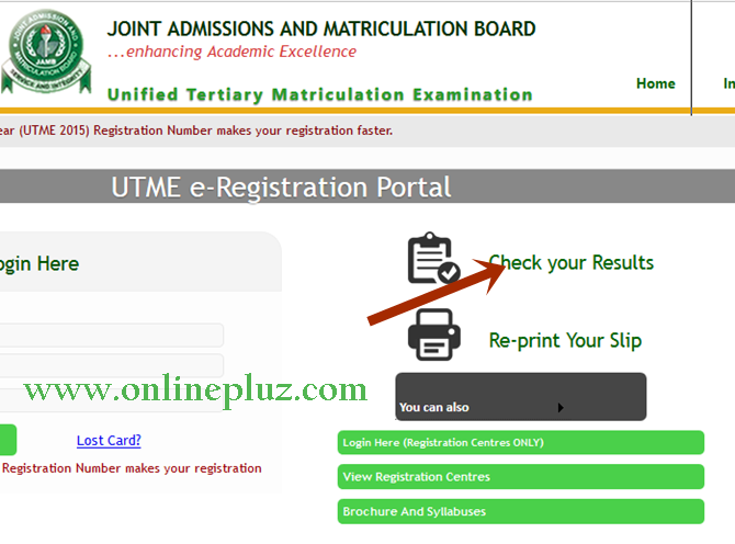 Check 2016 Jamb Result Online