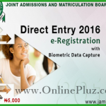 Jamb Direct Entry 2016 Registration – www.jamb.org.ng