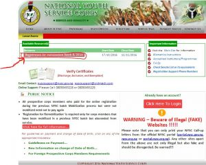 NYSC Online Registration Portal - www.nysc.org.ng