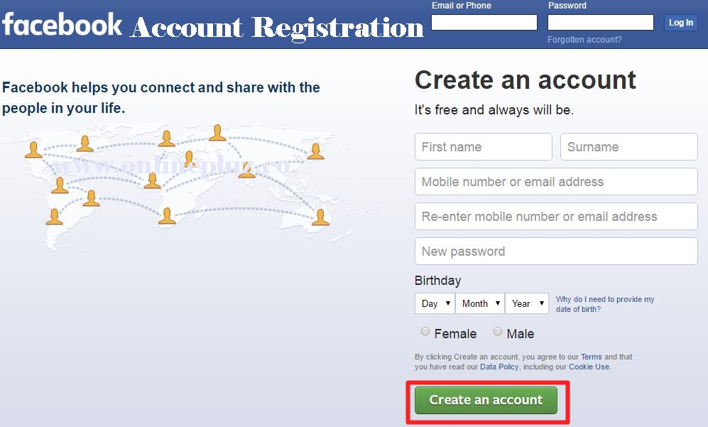 New Facebook Account Registration form | www.facebook.com sign up form