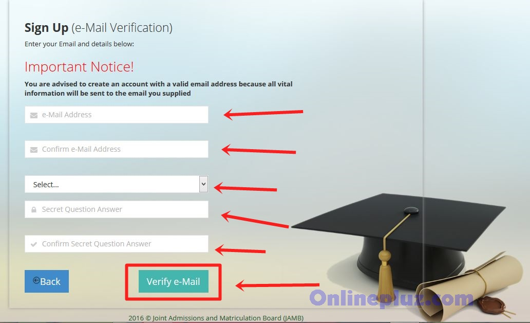 Create Jamb Profle on Jamb Portal
