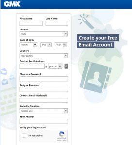 GMX Mail Account Registration