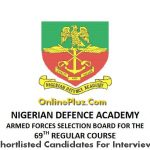 NDA List Of Successful Candidates Shortlisted For Interview For 69th Regular Course
