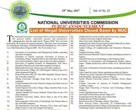 List Of Illegal Nigeria Universities
