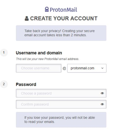 ProtonMail Sign Up