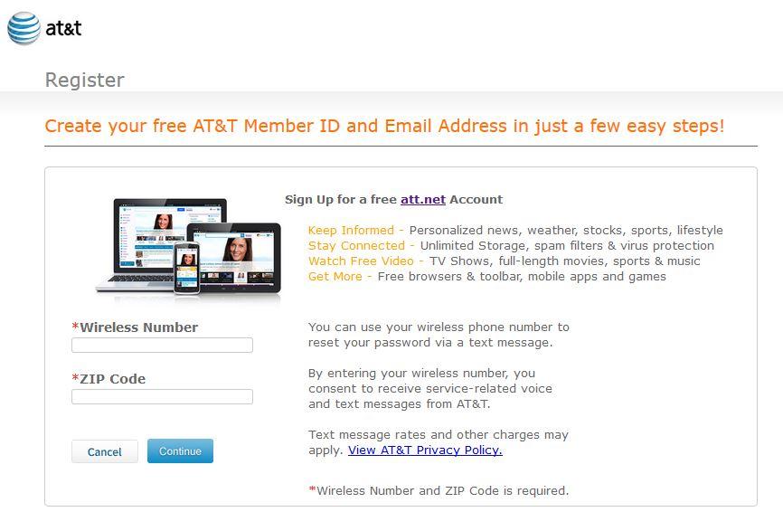 Create ATT Email Account