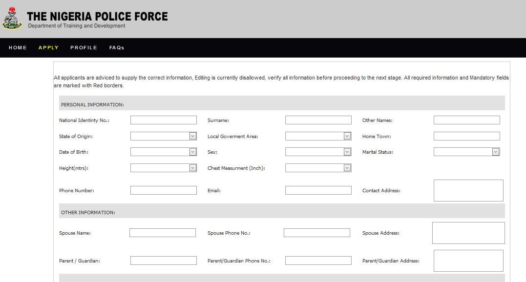 Nigeria Police Recruitment 2018/2019 Application