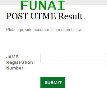FUNAI POST-UTME 2015/2016 Result