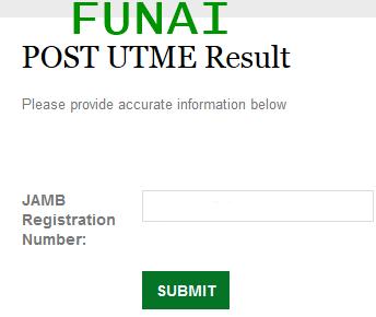 FUNAI POST-UTME 2015/2016 Result