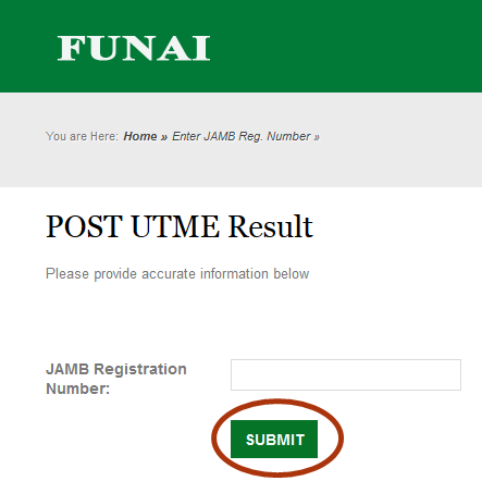 Funai Supplementary Post Utme Result