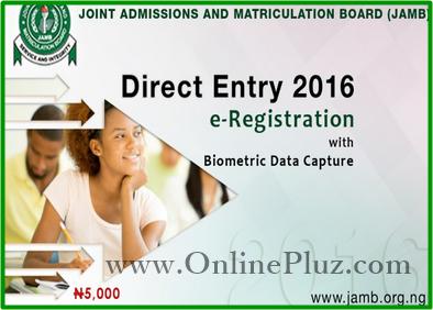 Jamb Direct Entry 2016 Registration