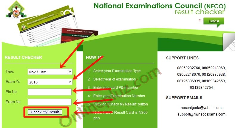2016 NECO Nov/Dec Examination Results