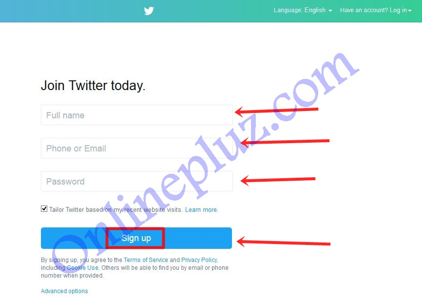 Twitter Registration Sign Up