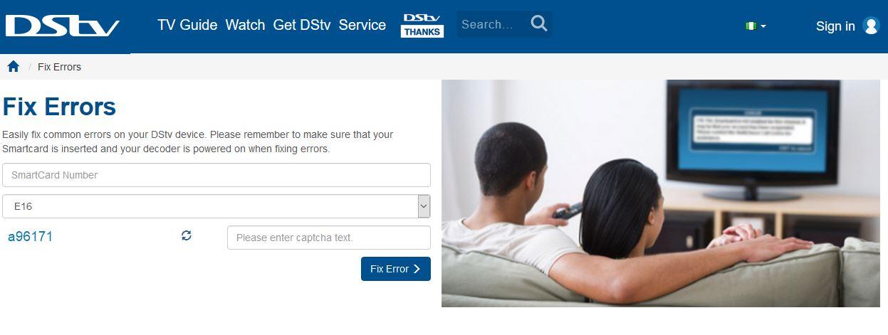 Clear E16 Error Code on DSTV