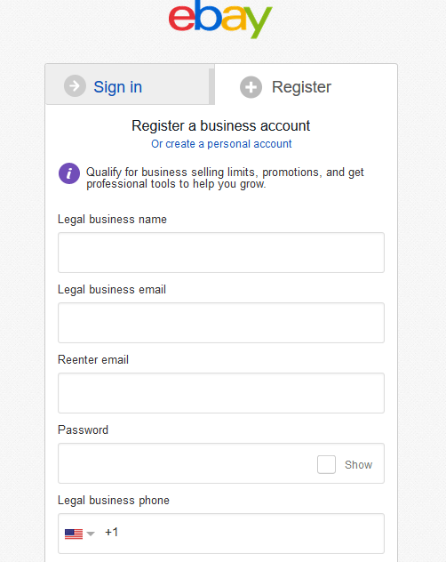 eBay Seller Account Registration